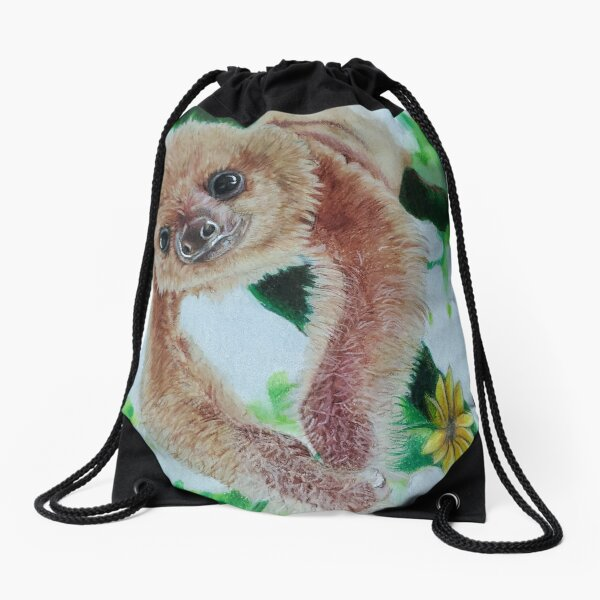 Flower sloth Drawstring Bag