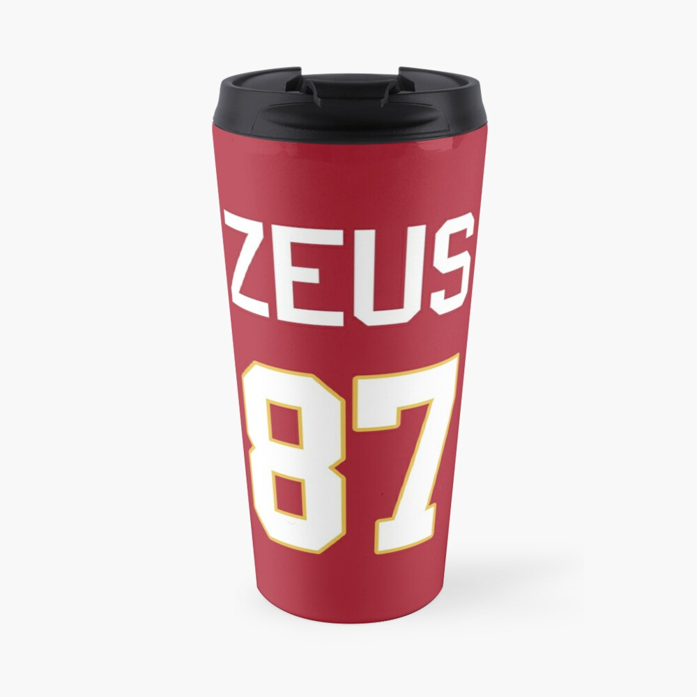 Limited Edition Zeus 87 Jersey Style Shirt, Kansas City Chiefs Shirt, Mug, Hoodie & Wall Tapestry! Travel Mug
