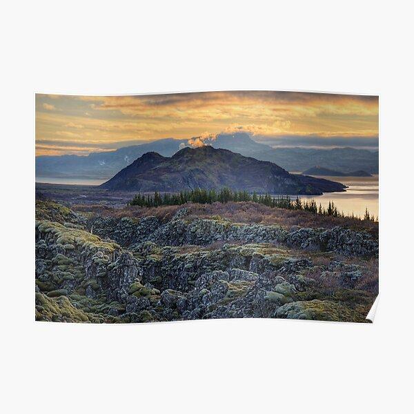 Sunset in Thingvellir Poster