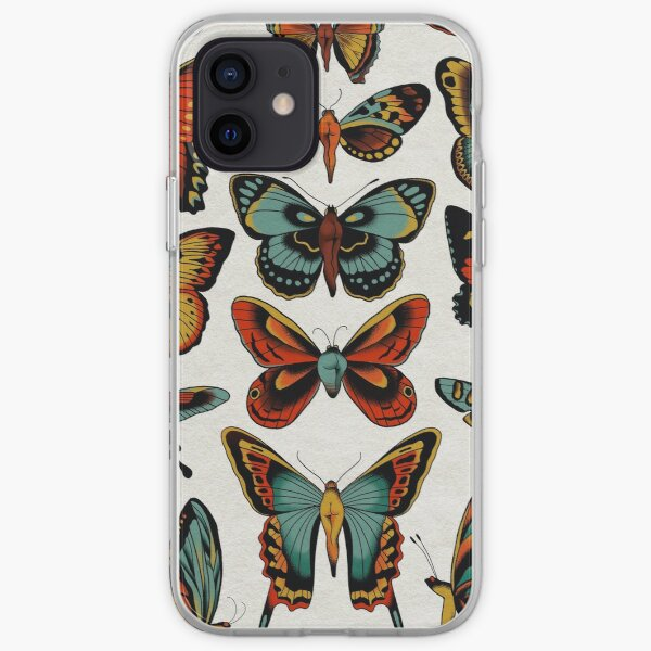 Butterflies traditional tattoo flash iPhone Soft Case