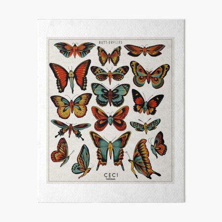 Butterflies traditional tattoo flash Art Board Print