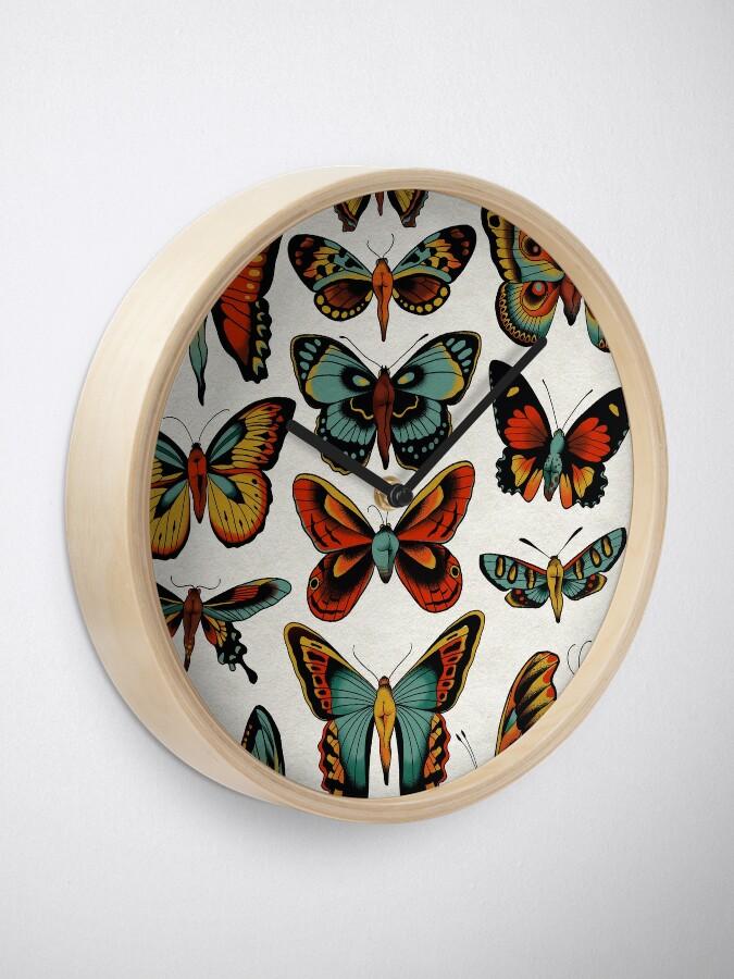 Alternate view of Butterflies traditional tattoo flash Clock
