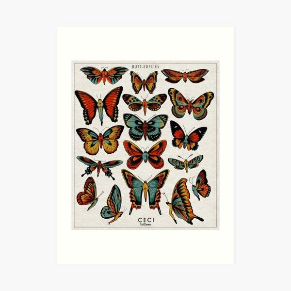 Butterflies traditional tattoo flash Art Print