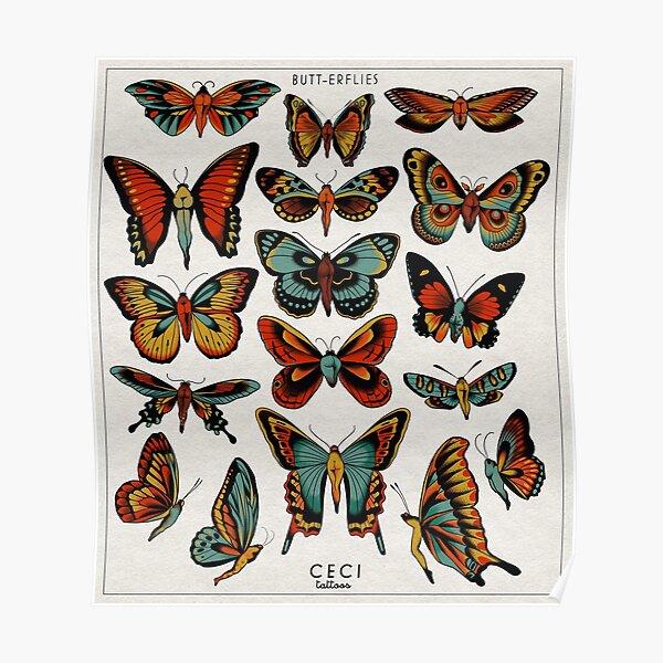 Butterflies traditional tattoo flash Poster