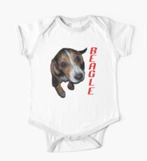 Beagle Puppy Sitting Down (Red Text) One Piece - Short Sleeve