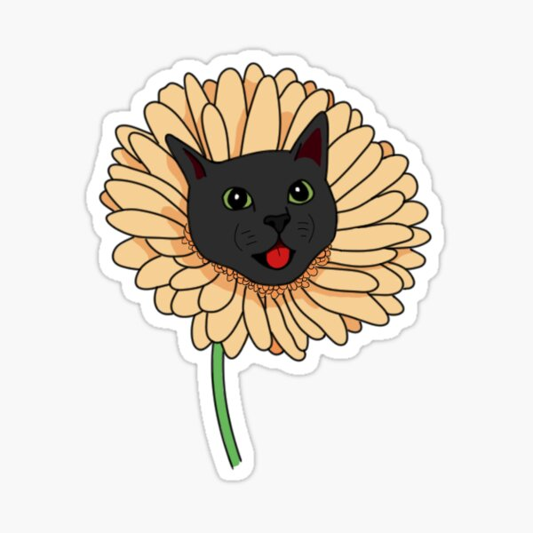 Yellow Daisy Cat Sticker