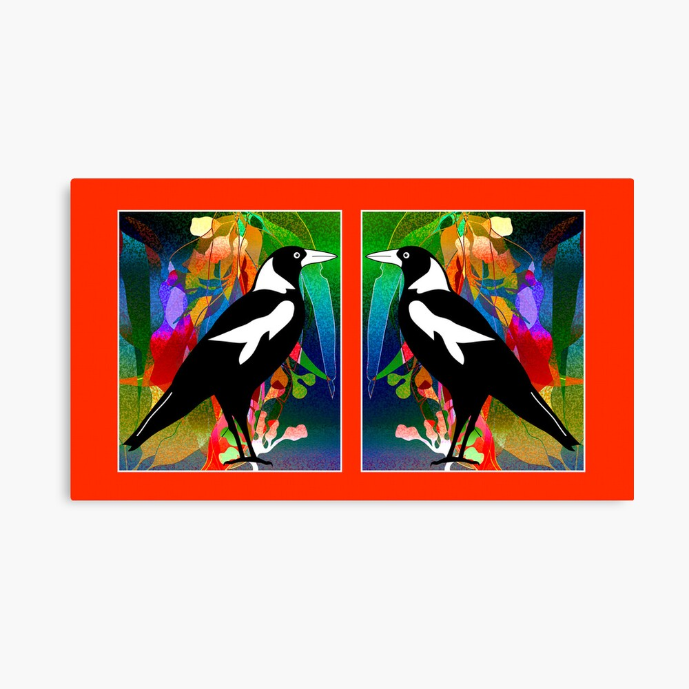 Stained Glass Magpies Lienzo