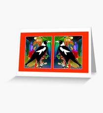 Tarjeta de felicitación Stained Glass Magpies