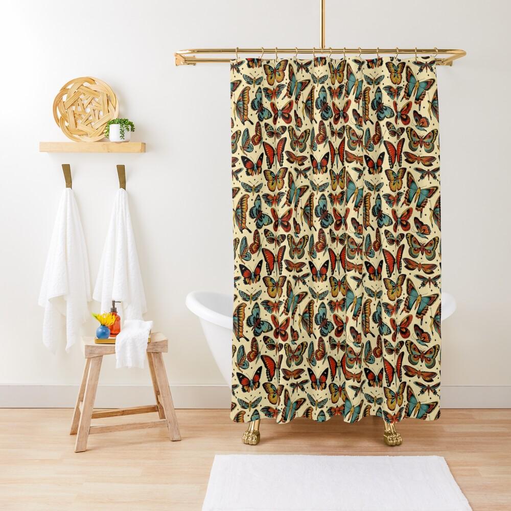Butterflies traditional tattoo flash Shower Curtain