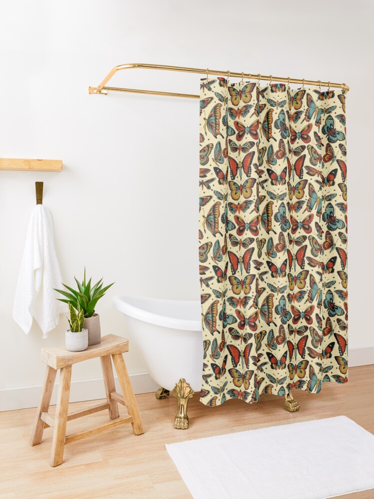 Alternate view of Butterflies traditional tattoo flash Shower Curtain