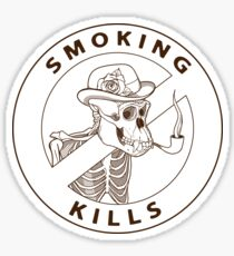 black and white no-smoking sing with gorilla's skeleton smoking pipe Sticker