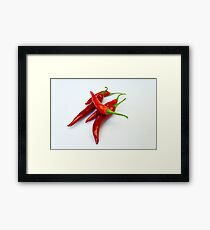 Red hot spicy peppers Framed Print