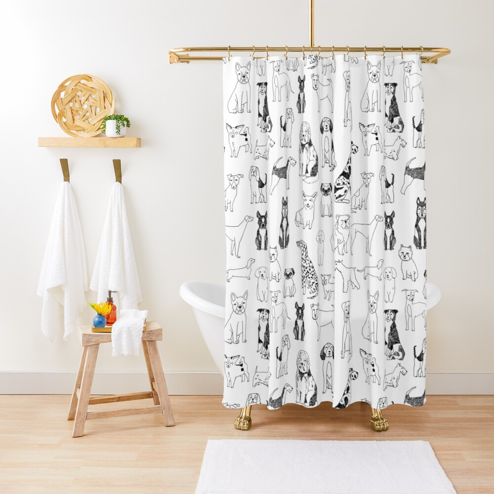 Dogs Dogs Dogs - White background Shower Curtain