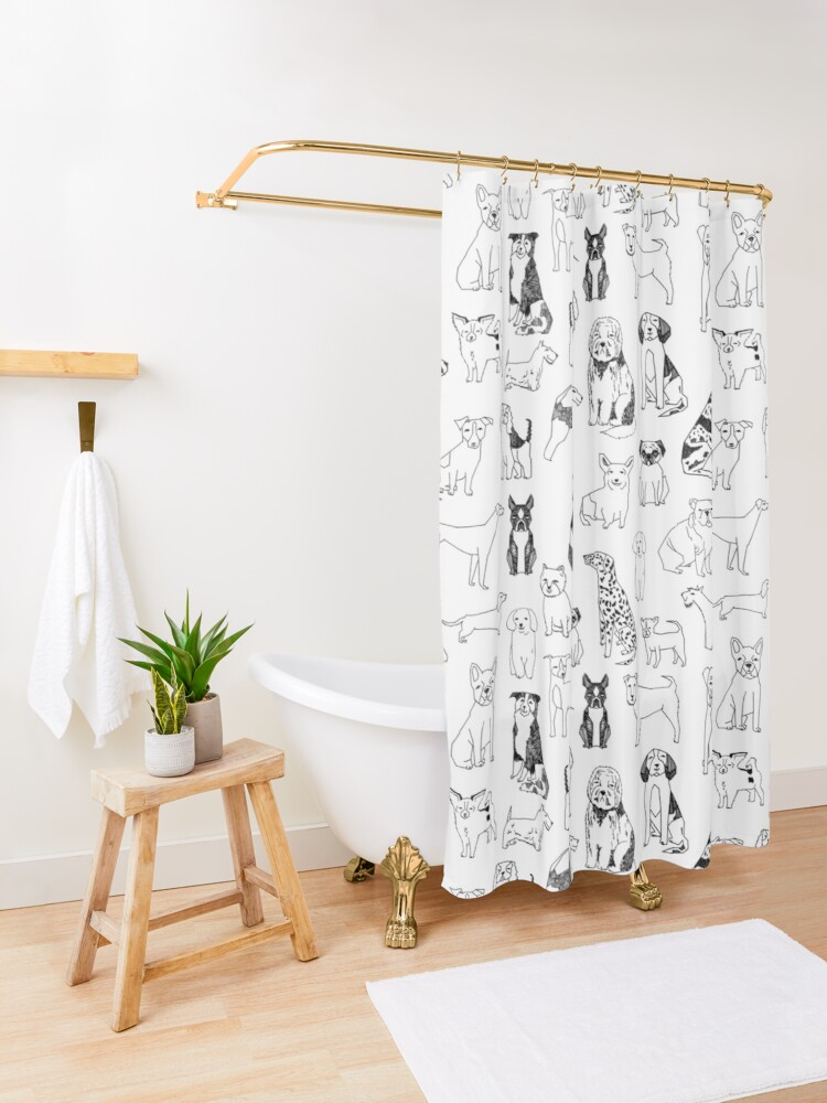 Alternate view of Dogs Dogs Dogs - White background Shower Curtain