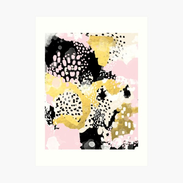 Simone - abstract painting gold foil trendy hipster pastel pink modern trendy colors decor college Art Print