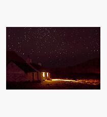 Stargazing at Black Rock Cottage, Glencoe, Scotland Photographic Print