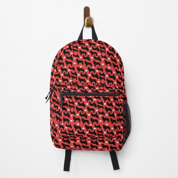 Newfie Pattern in Red Newfoundland Dogs with Hearts Backpack