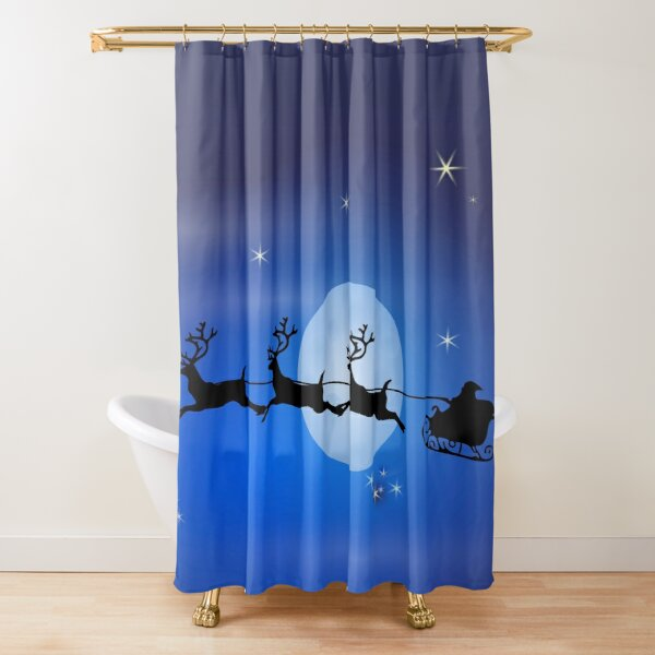 SANTA AND HIS REINDEERS Shower Curtain