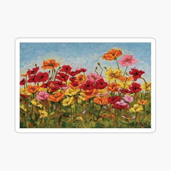 A Garden of Colorful Poppies Sticker