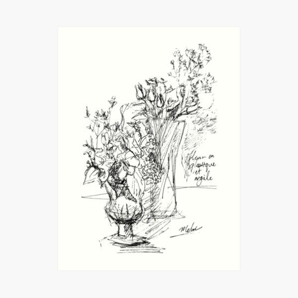 Flowers in Vases - Black and White Art Print