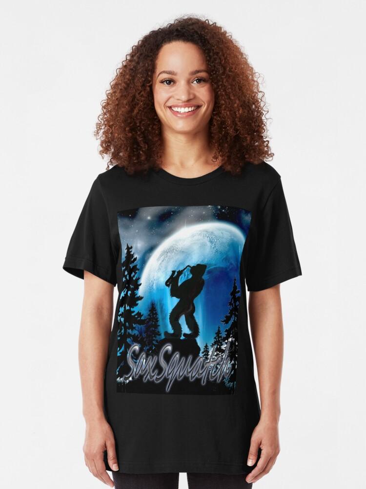 Alternate view of SaxSquatch Slim Fit T-Shirt