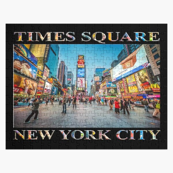 Times Square Sparkle (poster on black) Jigsaw Puzzle