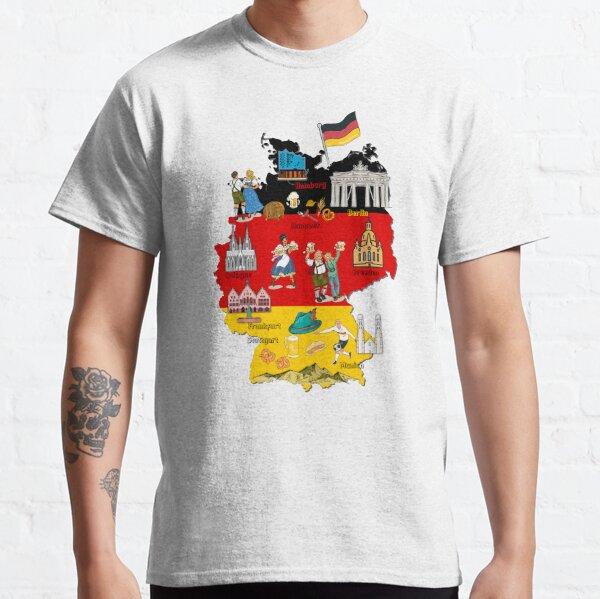 Deutschlandkarte, Oktoberfest, Großstädte und Wahrzeichen Karte von Deutschland mit Flaggenhintergrund Classic T-Shirt