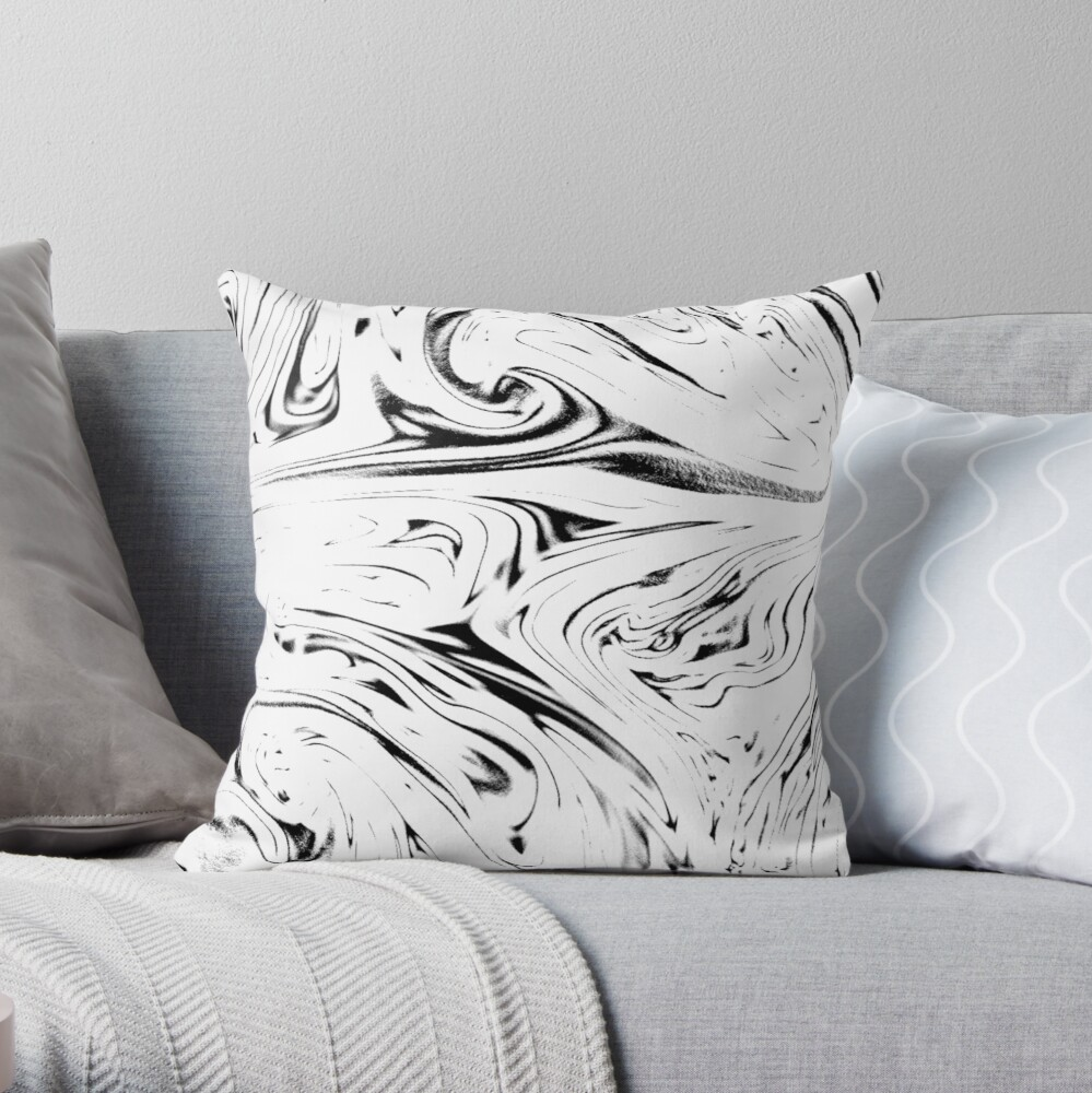 Multicolored unique everlasting pattern. Inspirational pouring art Throw Pillow