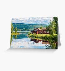 Red House on a Swedish Lake Greeting Card