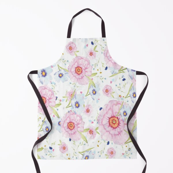 Field of Delicate Pink and Blue Daisies Apron