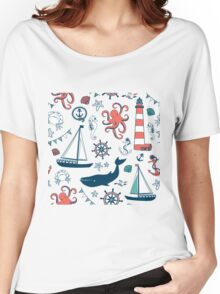 Nautical Animals And Symbols Pattern Women's Relaxed Fit T-Shirt