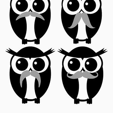 Mustache Owls by SeijiArt