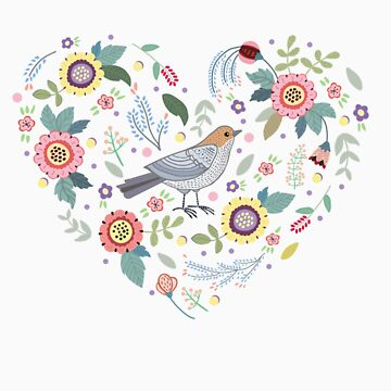 Romantic bird with flowers in vintage style by Anutina