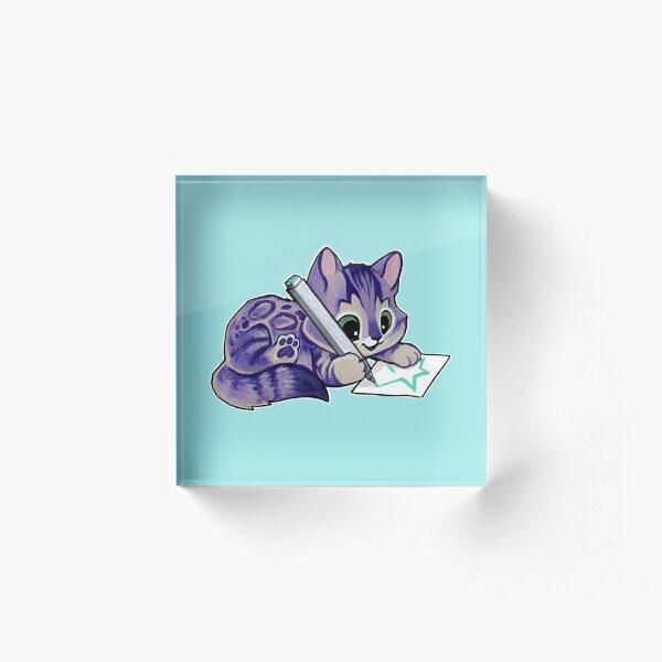 Purple drawing kitty Acrylic Block