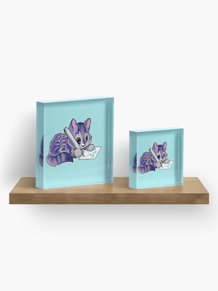 Alternate view of Purple drawing kitty Acrylic Block