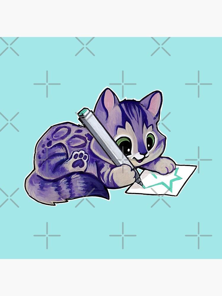 Purple drawing kitty by ArtOfBianca