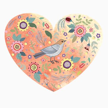 Romantic heart  bird and flowers by Anutina