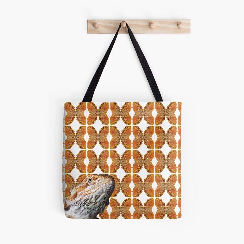 Bearded Dragon Patterned Background With Beardie Head Tote Bag