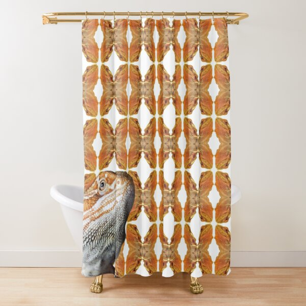 Bearded Dragon Patterned Background With Beardie Head Shower Curtain