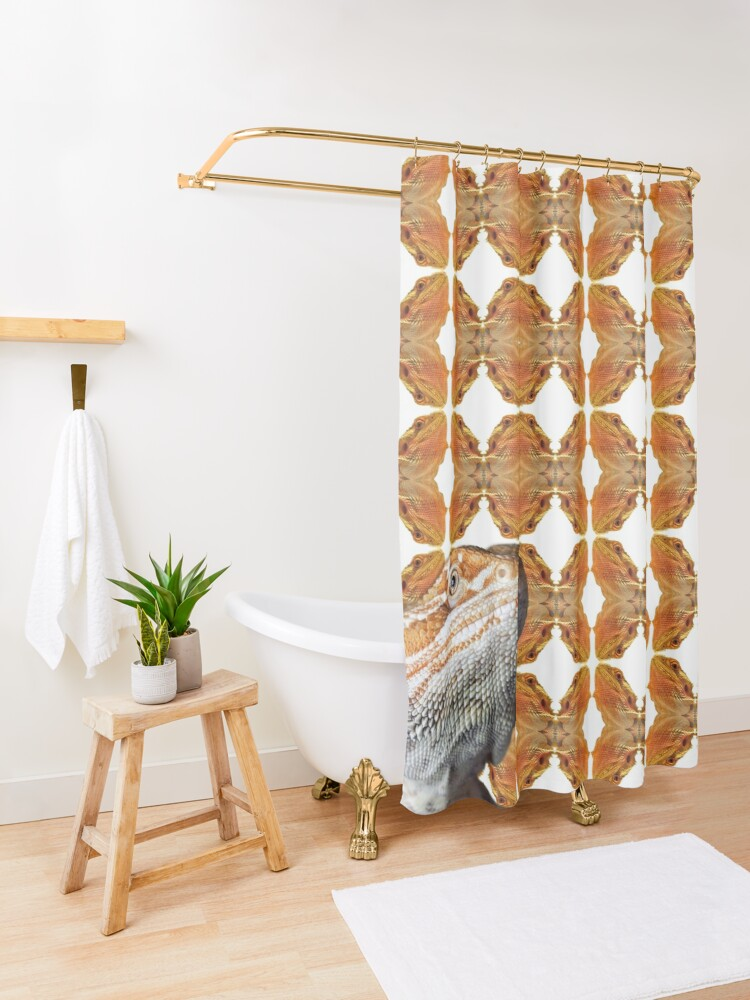 Alternate view of Bearded Dragon Patterned Background With Beardie Head Shower Curtain
