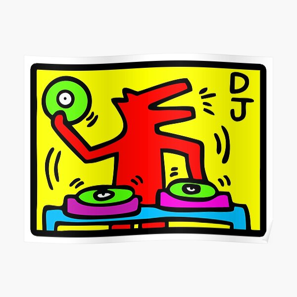 Keith Haring - DJ / 1988 / Talking Heads / Abstrait / Pop Art Poster