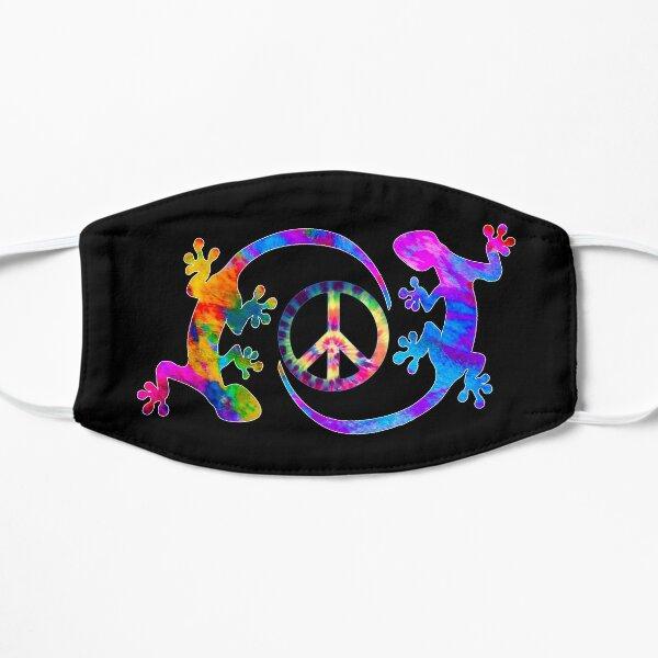 Deux Geckos Tie Dye Peace Sign et Gecko Design Masque sans plis