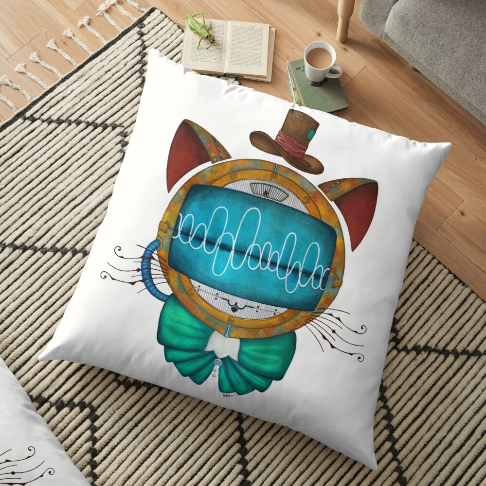 Shoupignon the robot-cat steampunk Floor Pillow
