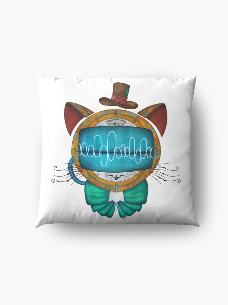 Alternate view of Shoupignon the robot-cat steampunk Floor Pillow