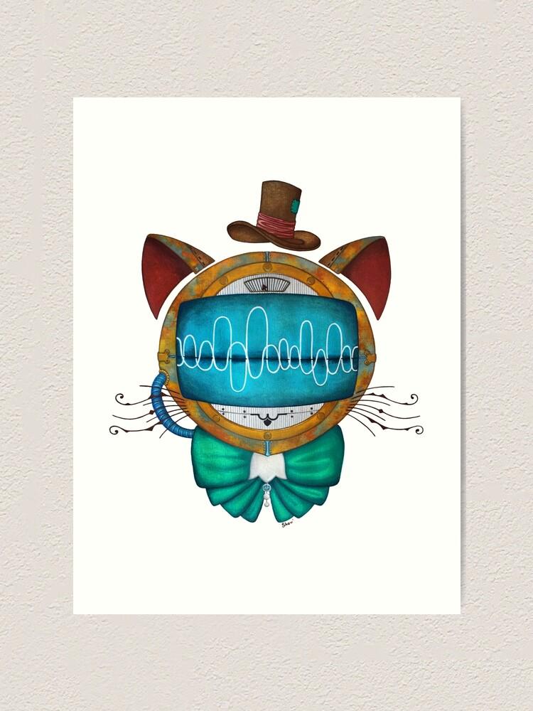 Alternate view of Shoupignon the robot-cat steampunk Art Print