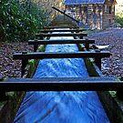 Water rushing down millrace towards historical Mingus Mill by Terri~Lynn Bealle