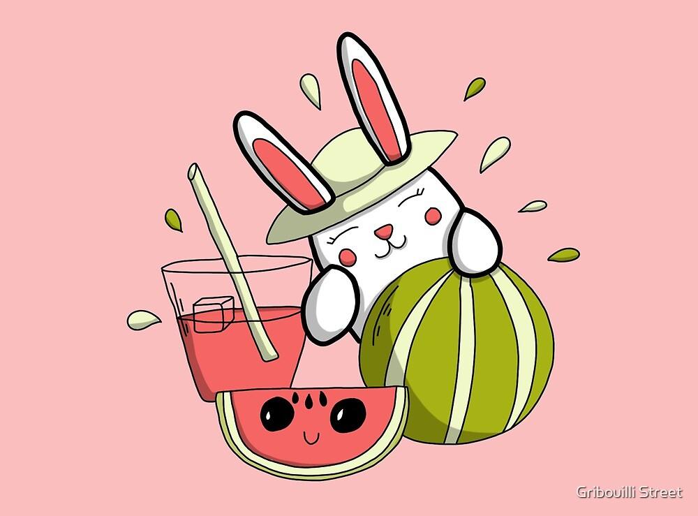 « Fraicheur de l'été - Lapin et pastèque doodle » par Gribouilli Street