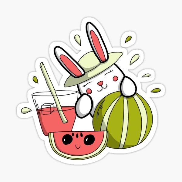 Fraicheur de l'été - Lapin et pastèque doodle Sticker