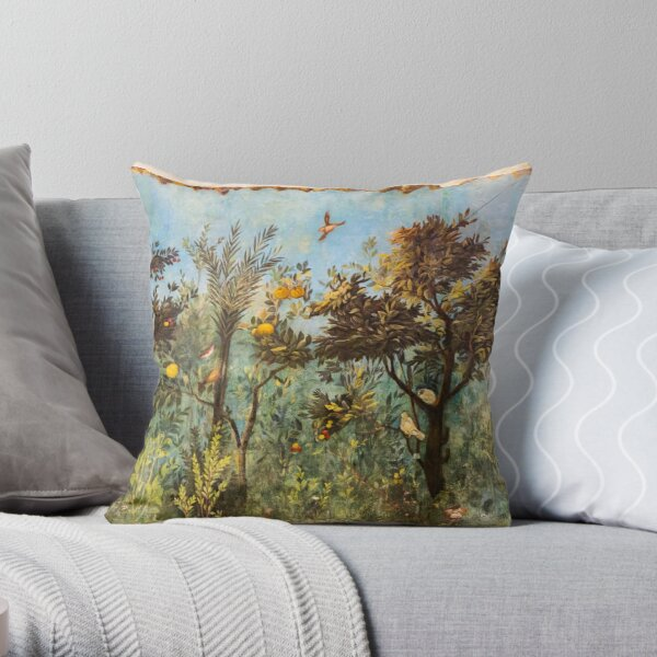 ANTIQUE ROMAN WALL PAINTING Flower Garden Flying Birds ,Quince and Apple Trees  Throw Pillow