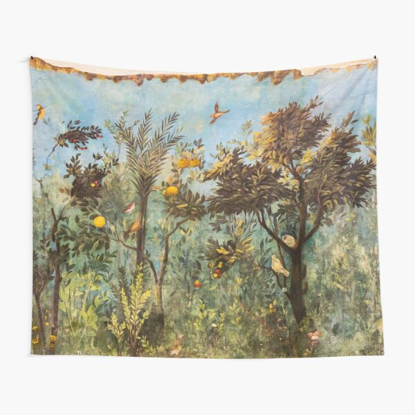 ANTIQUE ROMAN WALL PAINTING Flower Garden Flying Birds ,Quince and Apple Trees  Tapestry